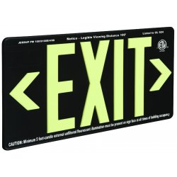 Jessup - 7090-B - Glo Brite Eco Exit Sign Measures 8-3/4 Inch Hieght By 15-1/4 Inch Length Single Sided Black Color Seen At 100 Feet, EA