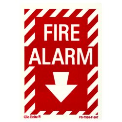 Jessup - FS-7520-F-207 - Fire Sign- Glow In The Dark- Peel And Stick- Red