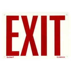 "Jessup - FS-7520-R-215 - 7""x10"" Exit Sign Red Letters On Pl Back"
