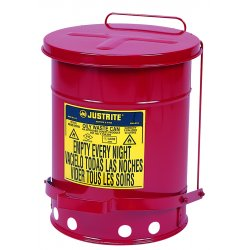 Justrite - 09100 - Red Galvanized Steel Oily Waste Can, 6 gal. Capacity, Foot Operated Self Closing Lid Type