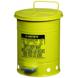 Justrite - 09101 - Justrite 6 Gallon Yellow Galvanized Steel Oily Waste Can With Foot Lever Opening Device, ( Each )