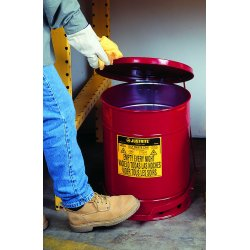 Justrite - 09310 - Red Galvanized Steel Oily Waste Can, 10 gal. Capacity, Hand Operated Self Closing Lid Type