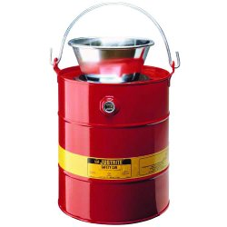 Justrite - 10903 - Disposal Safety Can Solvent Drain 3 Gal Coated Steel Red Justrite Mfg Co. 11.625 In Outside Diameter 12.25 In H, EA