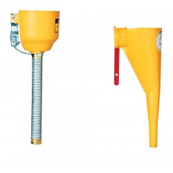 Justrite - 11089 - Justrite 1' X 14' Yellow Polyethylene Bolt-On Funnel With Galvanized Hose (For Type I Steel Safety Cans), ( Each )