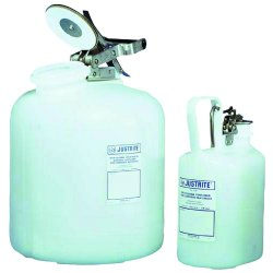 Justrite - 12161 - Corrosive Container High Density Polyethylene 1 Gal White Stainless Steel Justrite Mfg Co. 12.75 In Hx4.625 In Wx7.625 In L, EA