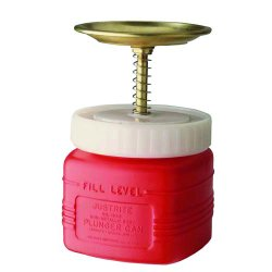 Justrite - 14018 - Red Plunger Can, Polyethylene, 1 qt. Capacity, Dasher Plate Dia. 5""