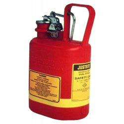 Justrite - 14160 - Safety Can Type I Oval High Density Polyethylene 1 Gal Red Stainless Steel Justrite Mfg Co. 12.75 In Hx4.625 In Wx7.625 In L, EA
