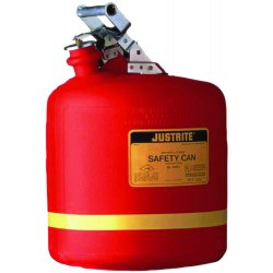 Justrite - 14561 - Safety Can Type 1 High Density Polyethylene 5 Gal Red Stainless Steel Justrite Mfg Co. 12.75 In Outside Diameter 16 In H, EA