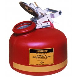 Justrite - 14762 - Disposal Safety Can 2 Gal High Density Polyethylene Red Stainless Steel Justrite Mfg Co. 12 In Outside Diameter 14.75 In H, EA