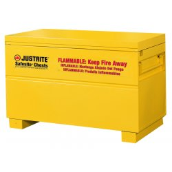 "Justrite - 16032Y - 48"" x 24"" x 31-1/8"" Galvanized Steel Flammable Liquid Safety Cabinet with Self-Closing Doors, Yellow"
