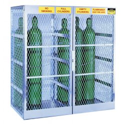 Justrite - 23008 - Justrite 60' X 65' X 32' Aluminum Vertical 10 Cylinder Horizontal 8 Cylinder Combo Storage Locker With (1) Manual Close Door And (3) Shelves (For Flammables)