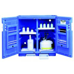 Justrite - 24160 - Justrite 36' X 35' X 23 1/2' Royal Blue Polyethylene Non-Metallic Undercounter Storage Cabinet With (2) Doors And (2) Adjustable Shelves (For Corrosive Acids) (Capacity 30 Each 1 Liter Bottles), ( Each )