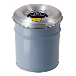 Justrite - 26001 - 12 gal. Gray Steel Open Head Waste Receptacle Drum