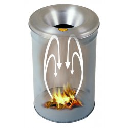 Justrite - 26604G - Cease-Fire 4-1/2 gal. Round Funnel Top Decorative Fire-Resistant Wastebasket, 14-1/4H, Gray