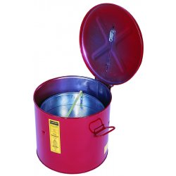 Justrite - 27711 - Red Wash Tank Can with Basket, Steel, Benchtop Mounting Type, 2 gal. (1 gal. with Basket) Capacity,