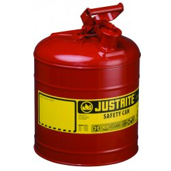 Justrite - 7120100 - Justrite 2 Gallon Red Galvanized Steel Type I Safety Can With 3 1/2' Stainless Steel Flame Arrester And Self-Closing Lid (For Flammable Liquids), ( Each )