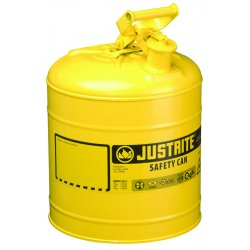 Justrite - 7120200 - Justrite 2 Gallon Yellow Galvanized Steel Type I Safety Can With 3 1/2' Stainless Steel Flame Arrester And Self-Closing Lid (For Diesel Fuel), ( Each )