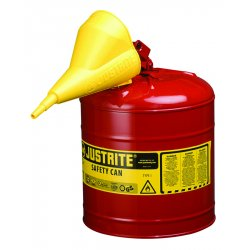 "Justrite - 7150110 - Justrite 5 Gallon Red Galvanized Steel Type I Safety Can With 3 1/2"" Stainless Steel Flame Arrester, Self-Closing Lid And Polypropylene Funnel (For Flammable Liquids)"