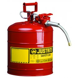 "Justrite - 7210120 - Justrite 1 Gallon Red AccuFlow Galvanized Steel Type II Vented Safety Can With Stainless Steel Flame Arrester And 5/8"" Metal Hose (For Flammable Liquids)"
