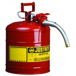 "Justrite - 7250130 - Justrite 5 Gallon Red AccuFlow Galvanized Steel Type II Vented Safety Can With Stainless Steel Flame Arrester And 1"" Metal Hose (For Flammable Liquids)"