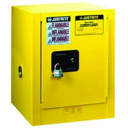 Justrite - 890420 - Justrite 4 Gallon Yellow Sure-Grip EX 18 Gauge Cold Rolled Steel Countertop Safety Cabinet With (1) Self-Closing Door And (1) Shelf (For Flammables)