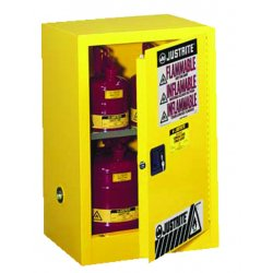 Justrite - 891220 - Justrite 12 Gallon Yellow Sure-Grip EX 18 Gauge Cold Rolled Steel Compact Safety Cabinet With (1) Self-Closing Door And (1) Shelf (For Flammables)