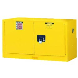 "Justrite - 891720 - 43"" x 18"" x 24"" Galvanized Steel Flammable Liquid Safety Cabinet with Self-Closing Doors, Yellow"