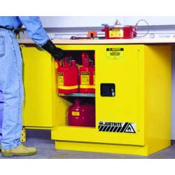 "Justrite - 892320 - 35"" x 22"" x 35"" Galvanized Steel Flammable Liquid Safety Cabinet with Self-Closing Doors, Yellow"