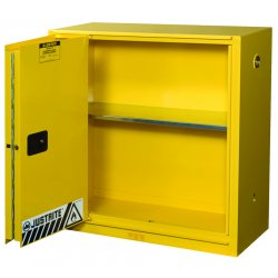 Justrite - 893080 - Justrite 30 Gallon Yellow Sure-Grip EX 18 Gauge Cold Rolled Steel Safety Cabinet With (1) Bi-Fold Self-Closing Door And (1) Shelf (For Flammables)