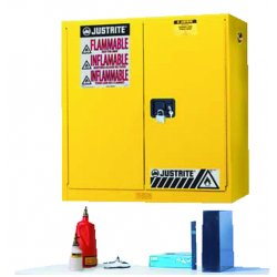 "Justrite - 893400 - 43"" x 12"" x 44"" Galvanized Steel Flammable Liquid Safety Cabinet with Manual Doors, Yellow"