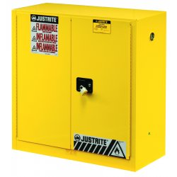 Justrite - 894500 - Justrite 45 Gallon Yellow Sure-Grip EX 18 Gauge Cold Rolled Steel Safety Cabinet With (2) Manual Close Doors And (2) Shelves (For Flammables), ( Each )