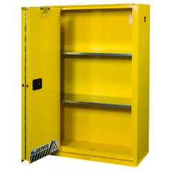 "Justrite - 894580 - 43"" x 18"" x 65"" Galvanized Steel Flammable Liquid Safety Cabinet with Self-Closing Doors, Yellow"