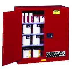 Justrite - 896011 - Justrite 96 Gallon Red Sure-Grip EX 18 Gauge Cold Rolled Steel Safety Cabinet With (2) Self-Closing Doors And (5) Shelves (For Combustibles), ( Each )
