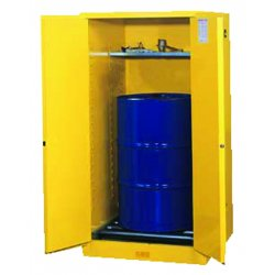Justrite - 896200 - Justrite 55 Gallon Yellow Sure-Grip EX 18 Gauge Cold Rolled Steel Vertical Drum Safety Cabinet With (2) Manual Close Doors And (1) Shelf And Drum Support (For Flammable Liquids)