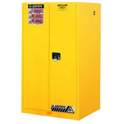 Justrite - 899000 - Justrite 90 Gallon Yellow Sure-Grip EX 18 Gauge Cold Rolled Steel Vertical Drum Safety Cabinet With (2) Manual Close Doors And (2) Shelves (For Flammable Liquids), ( Each )