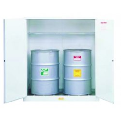 "Justrite - 8991053 - 59"" x 34"" x 65"" Galvanized Steel Vertical Drum Safety Cabinet with Manual Doors, White"