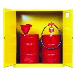 Justrite - 899160 - Justrite 110 Gallon Yellow Sure-Grip EX 18 Gauge Cold Rolled Steel Vertical Drum Safety Cabinet With (2) Manual Close Doors And (1) Shelf And Drum Rollers (For Flammable Liquids), ( Each )
