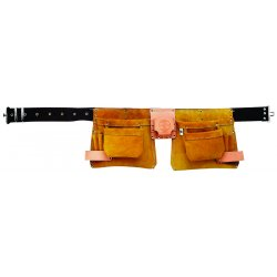 Klein Tools - 42242 - Klein Tools 2 1/4'' Brown Leather 10 Pocket Nail/Screw And Tool Pouch Apron With Army Style Buckle, Snap And Slides, ( Each )