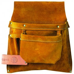 Klein Tools - 42245 - Brown Tool Pouch, Leather, Fits Belts Up To (In.): 3