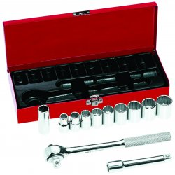 "Klein Tools - 65510 - Klein Tools 1/2"" 12 Piece Socket Wrench Set With Ratchet And Hinged Metal Box"