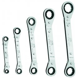 Klein Tools - 68245 - Klein Tools Nickel Chrome Plated Alloy Steel 5 Piece Fully Reversible Ratcheting Offset Box Wrench Set, ( Set )