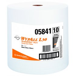 """Kimberly-Clark - 05843 - Wypall L30 General Purpose Wipers - 11"""" x 10.40"""" - 70 Sheets/Roll - White - Perforated, Light Duty, Wet Strength, Soft, Reinforced, Absorbent, Solvent Resistant - For Face, Hand, General Purpose, Janitorial - 1 Each"""