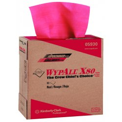 Kimberly-Clark - 05930 - Kimberly-Clark Professional* WYPALL* X80 9.100' X 16.800' Red HYDROKNIT* Wiper (80 Per Pop-Up Box, 5 Box Per Case)