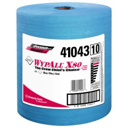 "Kimberly-Clark - 41043 - Wypall WypAll X80 Blue Wipers Jumbo Roll - 12.50"" x 13.40"" - 475 Sheets/Roll - Blue - Cloth - Reusable, Eco-friendly, Absorbent, Durable - For Industry - 1 / Each"