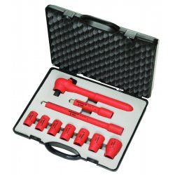 "Knipex Tools - 98 99 11 S3 - Insulated Socket Wrench Set, Number of Pieces: 10, 3/8"" Drive Size"