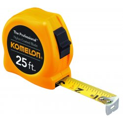 "Komelon - 4912 - 5/8""x12' Yellow Case Steel Power Tape Measure, Ea"