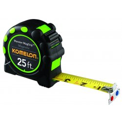 Komelon - 7125 - 25 ft. Stainless Steel SAE Magnetic Tip Tape Measure, Black