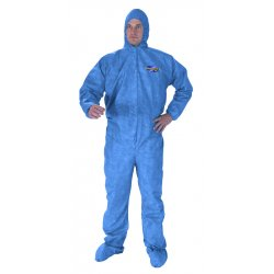 Kimberly-Clark - 45003 - Kimberly-Clark Professional* Large Denim Blue KLEENGUARD* A60 Microporous Film Laminate Breathable Bloodborne Pathogen And Chemical Splash Protection Coveralls With Seamless Front, Storm Flap Over Front Zipper Closure, Elastic