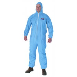 Kimberly-Clark - 45353 - FR Treated Cellulosic and Polyester Spun Lace, FR Coverall w/Hood and Socks, Size: L