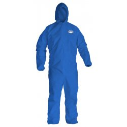 Kimberly-Clark - 58513 - Hooded Disposable Coveralls with Elastic Cuff, Blue, L, SMS